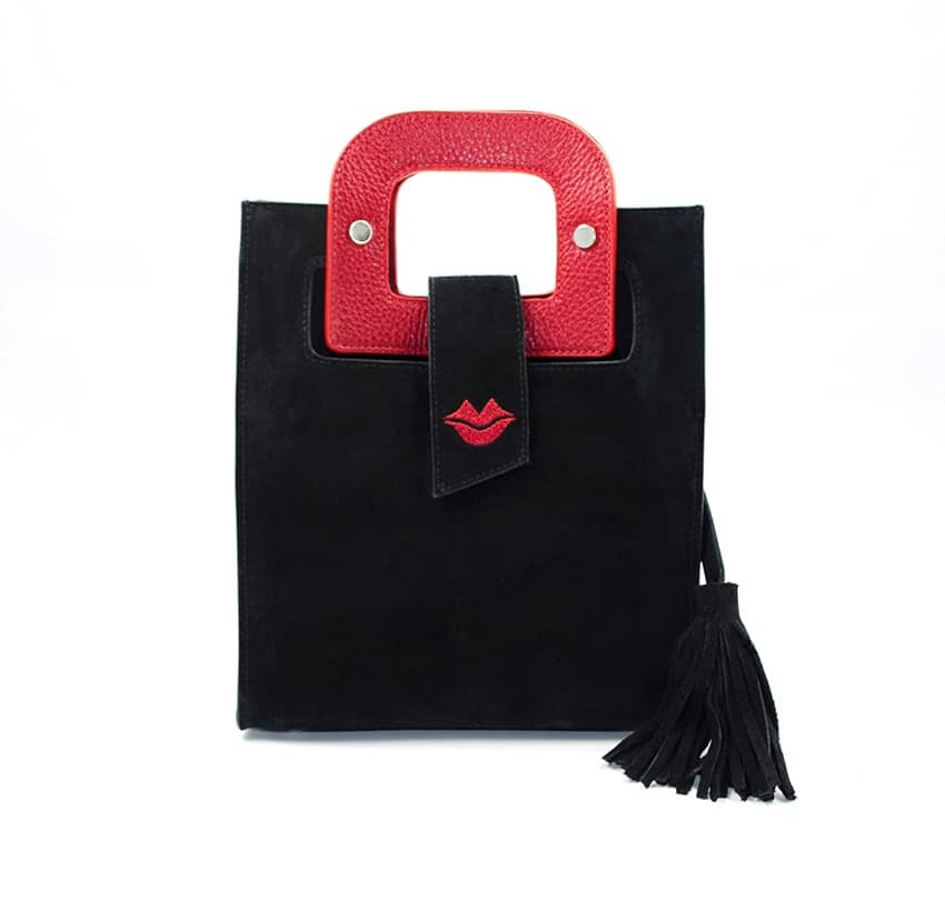 Sac en cuir noir velours ARTISTE, broderie bouche et anses rouge, vue 1  Gloria Balensi