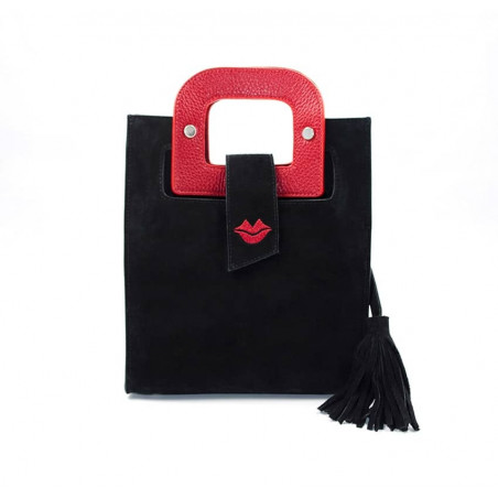 Black suede leather bag ARTISTE, red handle and mouth embroidery , view 1  | Gloria Balensi