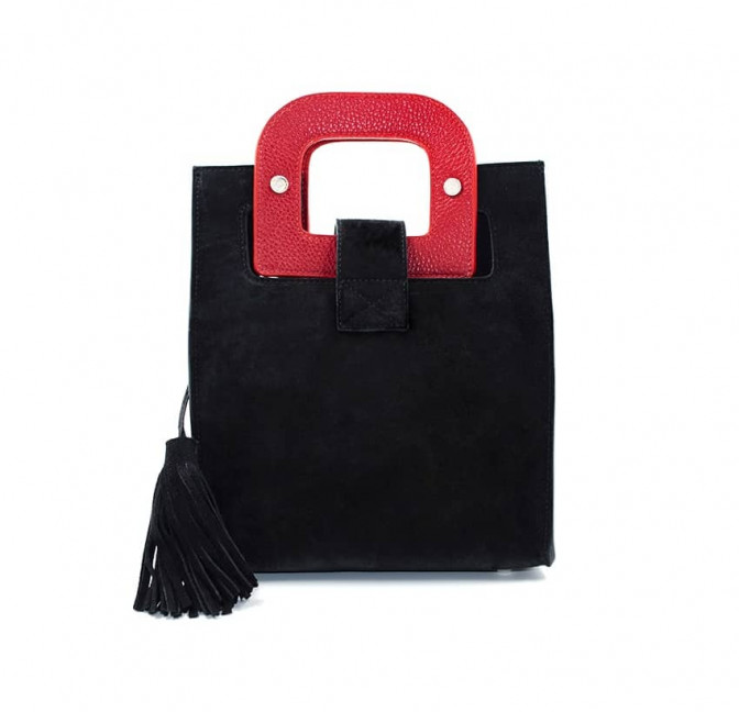 Black suede leather bag ARTISTE, red handle and mouth embroidery , view 4  | Gloria Balensi
