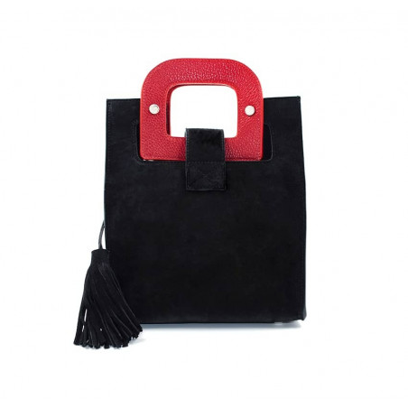 Sac en cuir noir velours ARTISTE, broderie bouche et anses rouge, vue 4  Gloria Balensi