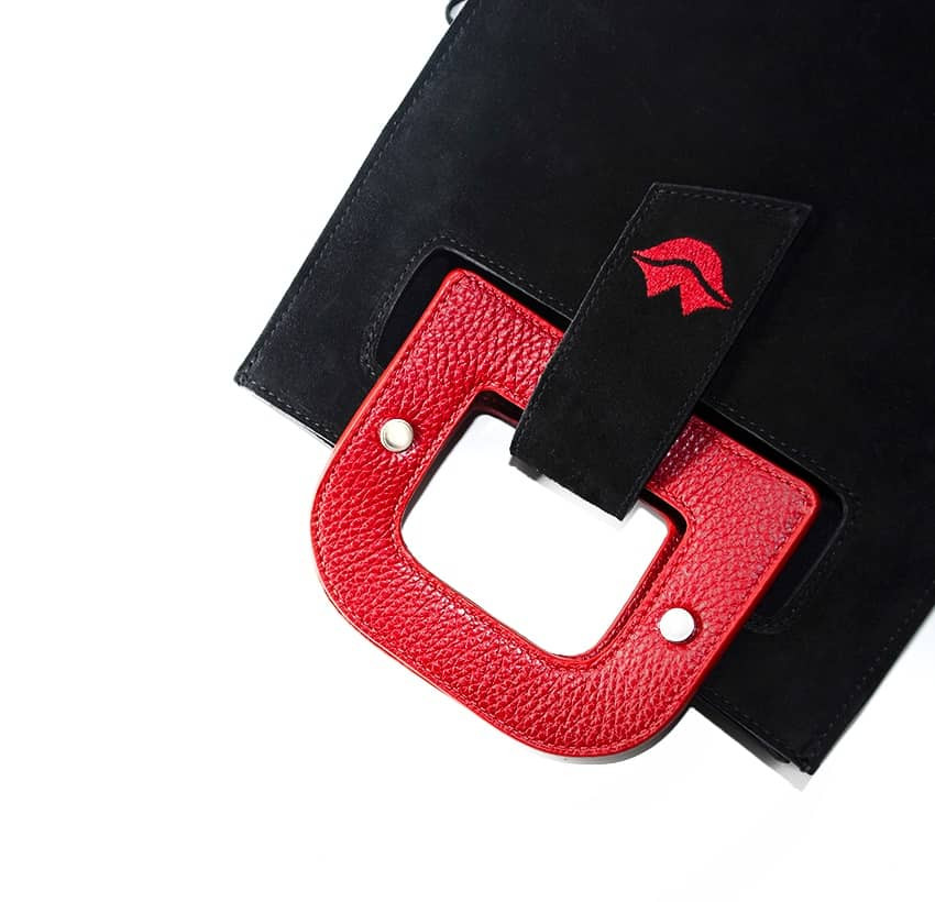Black suede leather bag ARTISTE, red handle and mouth embroidery , view 3  | Gloria Balensi